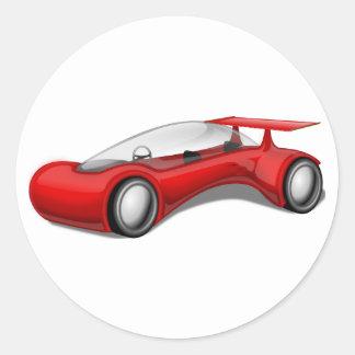 Shiny Red Aerodynamic Futuristic Car with Spoiler Classic Round Sticker
