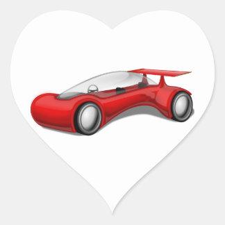 Shiny Red Aerodynamic Futuristic Car with Spoiler Heart Sticker