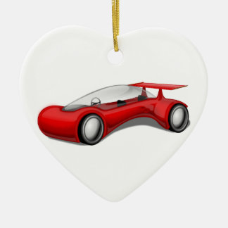Shiny Red Aerodynamic Futuristic Car with Spoiler Double-Sided Heart Ceramic Christmas Ornament