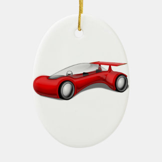 Shiny Red Aerodynamic Futuristic Car with Spoiler Double-Sided Oval Ceramic Christmas Ornament