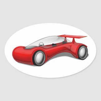 Shiny Red Aerodynamic Futuristic Car with Spoiler Oval Sticker