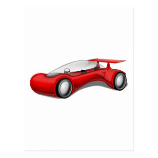 Shiny Red Aerodynamic Futuristic Car with Spoiler Postcard