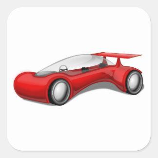 Shiny Red Aerodynamic Futuristic Car with Spoiler Square Sticker