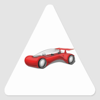 Shiny Red Aerodynamic Futuristic Car with Spoiler Triangle Sticker