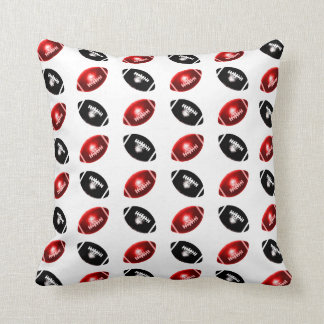 Shiny Red and Black Football Pattern Pillows