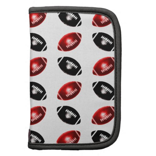 Shiny Red and Black Football Pattern Folio Planners