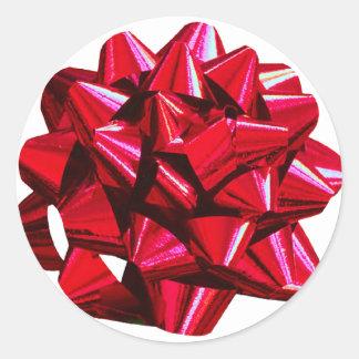 Shiny Red Bow Classic Round Sticker