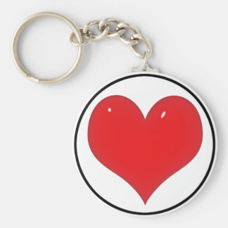 Shiny Red Heart (Add Your Text) Basic Round Button Keychain