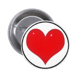 Shiny Red Heart (Add Your Text) Pinback Button