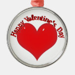 Shiny Red Heart Valentine Round Metal Christmas Ornament