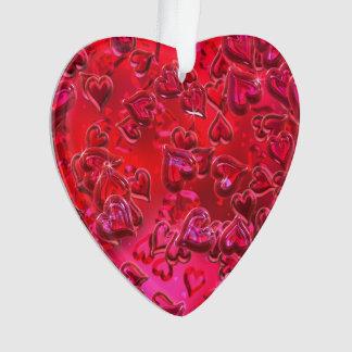 Shiny Red Hearts Acrylic Ornament