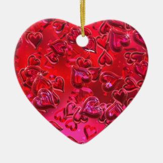 Shiny Red Hearts Double-Sided Heart Ceramic Christmas Ornament