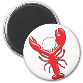 Shiny Red Lobster 2 Inch Round Magnet