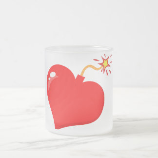 SHINY RED LOVE HEART BOMB GRAPHICS VECTORS FLIRT C 10 OZ FROSTED GLASS COFFEE MUG