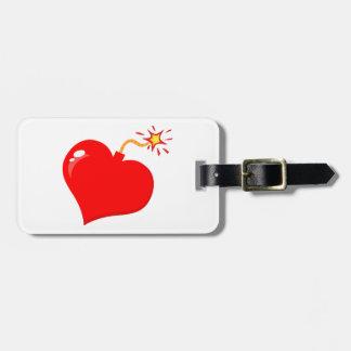 SHINY RED LOVE HEART BOMB GRAPHICS VECTORS FLIRT C TRAVEL BAG TAG