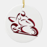 Shiny Red Metallic Motorcycle Racer Double-Sided Ceramic Round Christmas Ornament