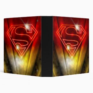 Shiny Red Outline Superman Logo 3 Ring Binder