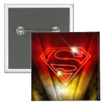 Shiny Red Outline Superman Logo Button