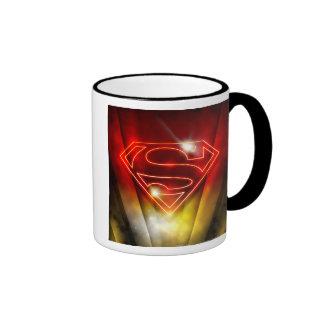 Shiny Red Outline Superman Logo Mugs