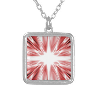 Shiny red silk star silver plated necklace