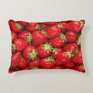 Shiny Red Strawberries Decorative Pillow