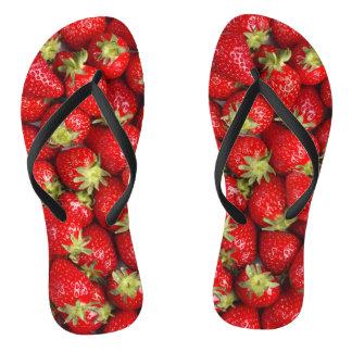 Shiny Red Strawberries Flip Flops