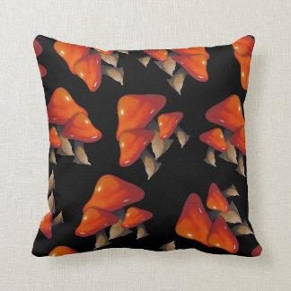 Shiny Red Toadstool Pattern on Black, Original Art Throw Pillow