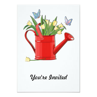 Shiny Red Watering Can with Yellow Tulips Card