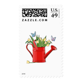 Shiny Red Watering Can with Yellow Tulips Postage Stamp