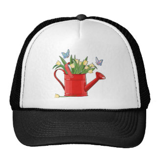 Shiny Red Watering Can with Yellow Tulips Trucker Hat