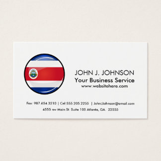Shiny Round Costa Rican Flag Business Card