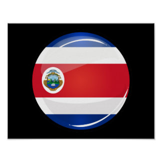 Shiny Round Costa Rican Flag Poster