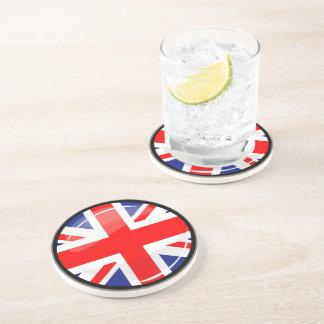 Shiny Round England United Kingdom Flag Drink Coasters