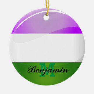 Shiny Round Genderqueer Flag Double-Sided Ceramic Round Christmas Ornament