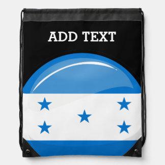 Shiny Round Honduran Flag Drawstring Backpack