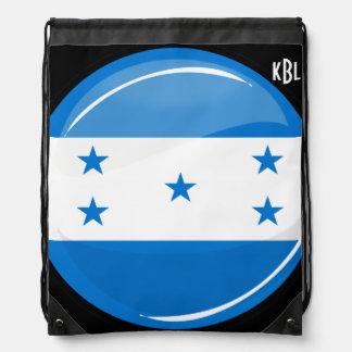 Shiny Round Honduran Flag Drawstring Bag
