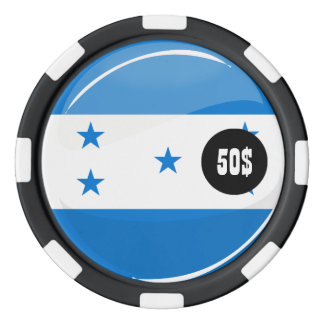 Shiny Round Honduran Flag Poker Chips Set