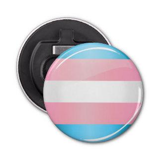 Shiny Round Transgender Pride Flag Bottle Opener