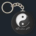 "Shiny Round Yin Yang Symbol Custom Keychain<br><div class=""desc"">The classic yin yang symbolizing universal harmony.</div>"