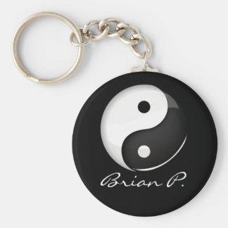 Shiny Round Yin Yang Symbol Custom Keychain
