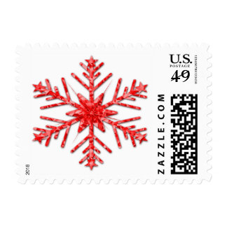 Shiny Ruby Red Sparkly Winter Snowflake Postage