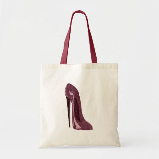 Shiny Ruby Red Stiletto Shoe Budget Tote Bag
