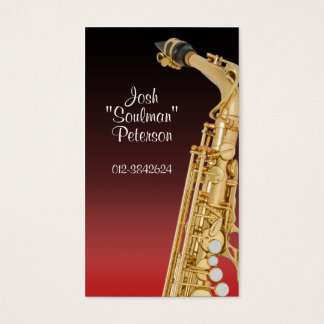 Shiny Saxaphone Red Gradient Business Card
