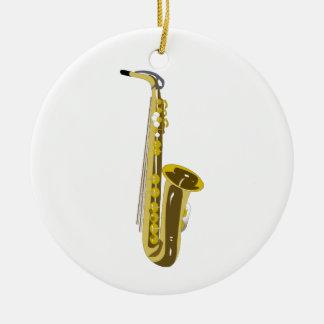 Shiny Saxophone Double-Sided Ceramic Round Christmas Ornament