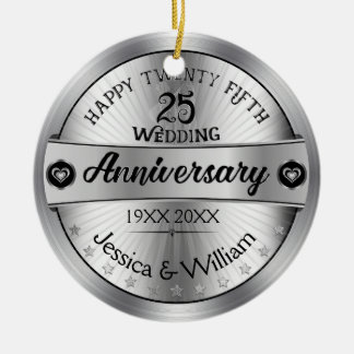 Shiny Silver 25th Wedding Anniversary Double-Sided Ceramic Round Christmas Ornament