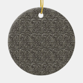 Shiny Silver Connected Ovals Celtic Pattern Christmas Ornaments