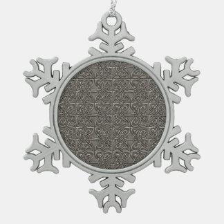 Shiny Silver Connected Ovals Celtic Pattern Snowflake Pewter Christmas Ornament
