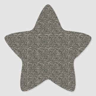 Shiny Silver Connected Ovals Celtic Pattern Star Stickers