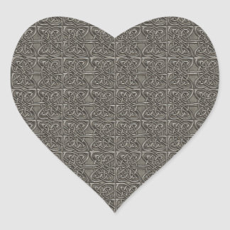 Shiny Silver Connected Ovals Celtic Pattern Heart Sticker