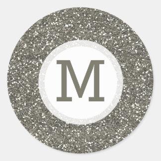 Shiny Silver Glitter Monogram Seal Classic Round Sticker